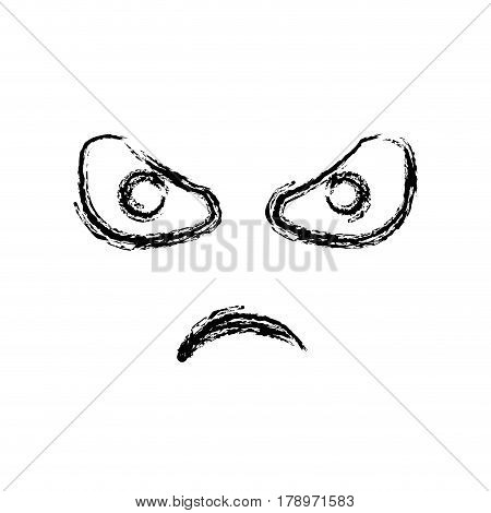 blurred silhouette emoticon angry expression vector illustration