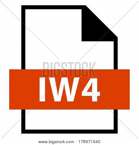 Use it in all your designs. Filename extension icon IW4 image format file in flat style. Quick and easy recolorable shape. Vector illustration a graphic element.