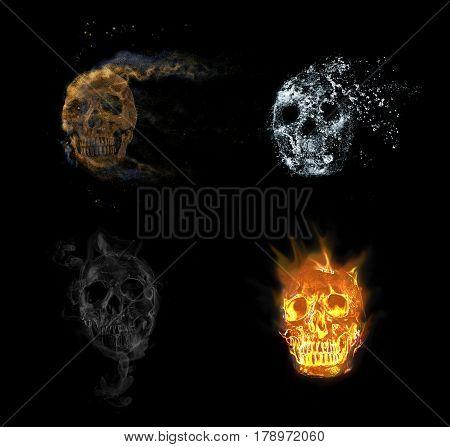 skull effect , on the black background