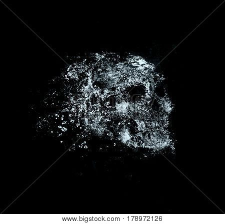 skull , water splash effect on background