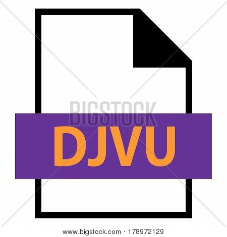 Filename extension icon DJVU file format for scanned document in flat style. Quick and easy recolorable shape. Vector illustration a graphic element.