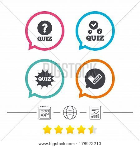 Quiz icons. Speech bubble with check mark symbol. Explosion boom sign. Calendar, internet globe and report linear icons. Star vote ranking. Vector