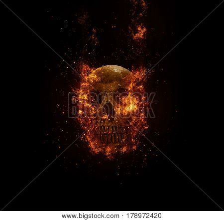 skull flames Fire effect on the background