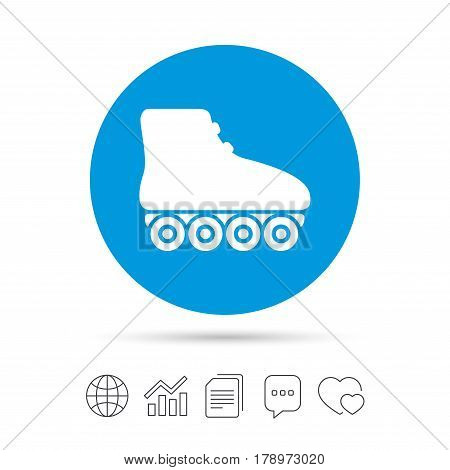 Roller skates sign icon. Rollerblades symbol. Copy files, chat speech bubble and chart web icons. Vector