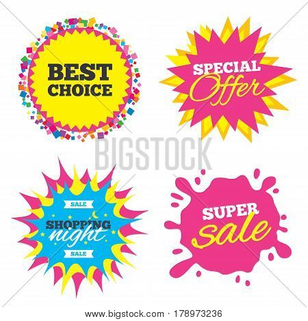 Sale splash banner, special offer star. Best choice sign icon. Special offer symbol. Shopping night star label. Vector