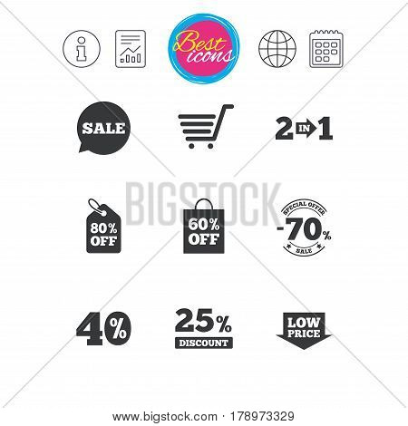 Information, report and calendar signs. Sale discounts icon. Shopping cart, coupon and low price signs. 25, 40 and 60 percent off. Special offer symbols. Classic simple flat web icons. Vector