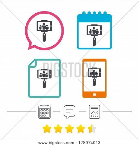Monopod selfie stick icon. Self portrait with group of people. Calendar, chat speech bubble and report linear icons. Star vote ranking. Vector