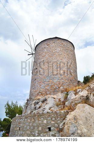 stony windmill at Hydra island Saronic Gulf Greece