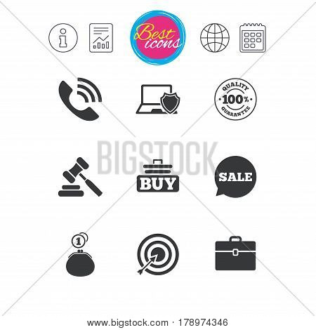 Information, report and calendar signs. Online shopping, e-commerce and business icons. Auction, phone call and sale signs. Cash money, case and target symbols. Classic simple flat web icons. Vector