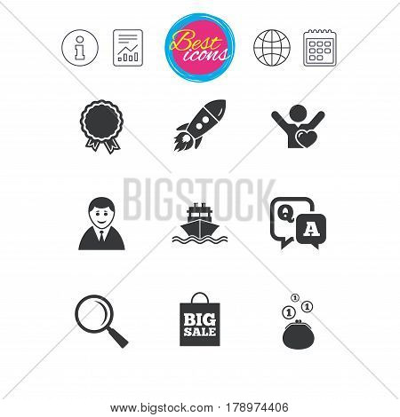 Information, report and calendar signs. Online shopping, e-commerce and business icons. Startup, award and customers like signs. Cash money, shipment and sale symbols. Classic simple flat web icons
