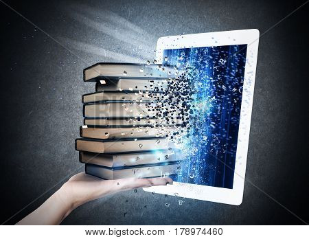 Books enter into the screen of an e-book