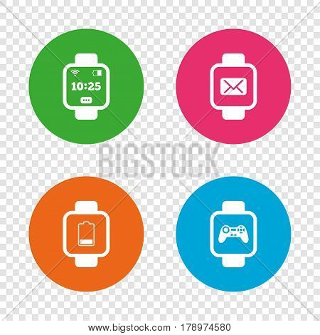 Smart watch icons. Wrist digital time watch symbols. Mail, Game joystick and wi-fi signs. Round buttons on transparent background. Vector