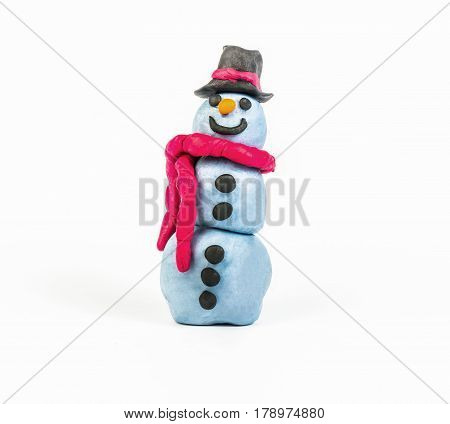 Snowman by clay on the white background