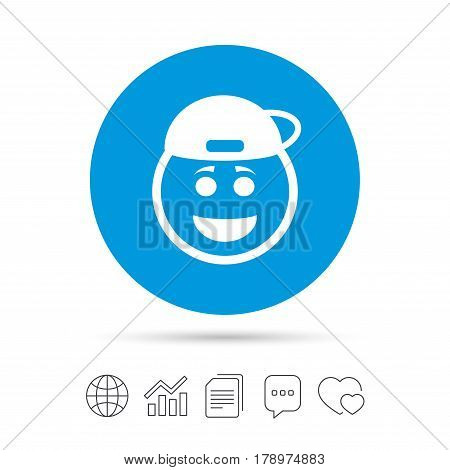 Smile rapper face sign icon. Happy smiley with hairstyle chat symbol. Copy files, chat speech bubble and chart web icons. Vector
