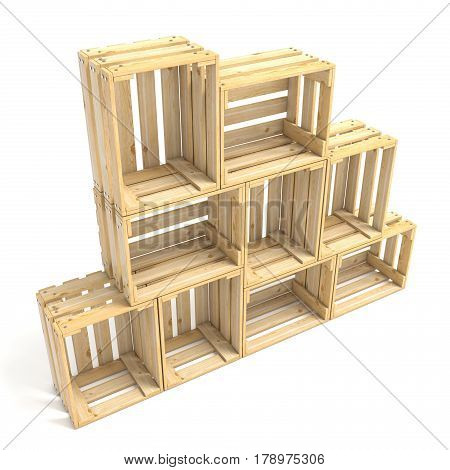 Empty Wooden Crates Arranged Side View 3D