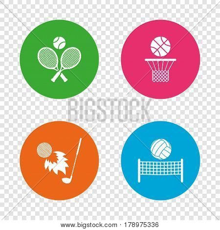 Tennis rackets with ball. Basketball basket. Volleyball net with ball. Golf fireball sign. Sport icons. Round buttons on transparent background. Vector