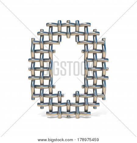 Metal Wire Mesh Font Number 0 Zero 3D