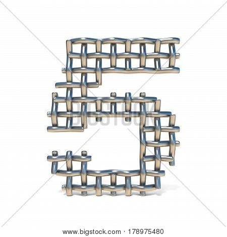 Metal Wire Mesh Font Number 5 Five 3D