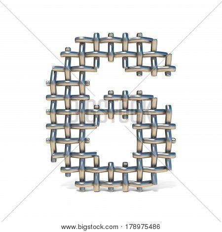 Metal Wire Mesh Font Number 6 Six 3D