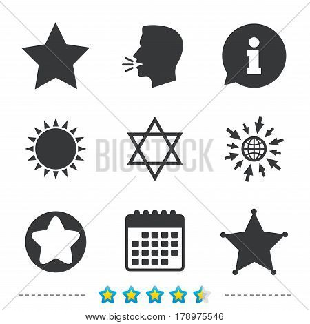 Star of David icons. Sheriff police sign. Symbol of Israel. Information, go to web and calendar icons. Sun and loud speak symbol. Vector