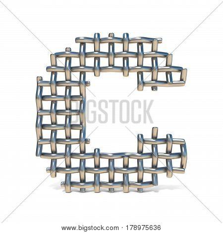 Metal Wire Mesh Font Letter C 3D