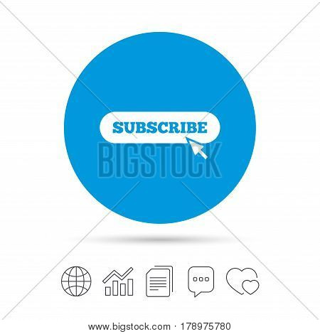 Subscribe with cursor pointer sign icon. Membership symbol. Website navigation. Copy files, chat speech bubble and chart web icons. Vector