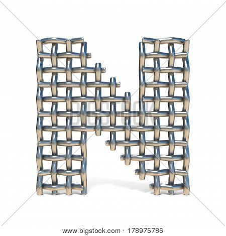 Metal Wire Mesh Font Letter N 3D