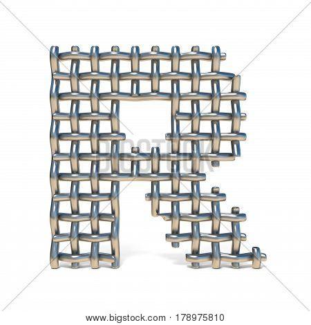 Metal Wire Mesh Font Letter R 3D