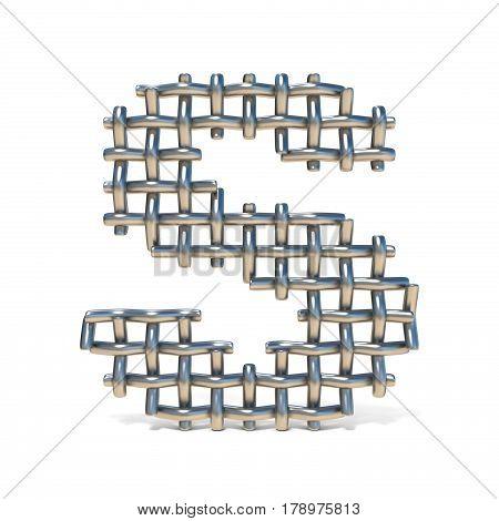 Metal Wire Mesh Font Letter S 3D