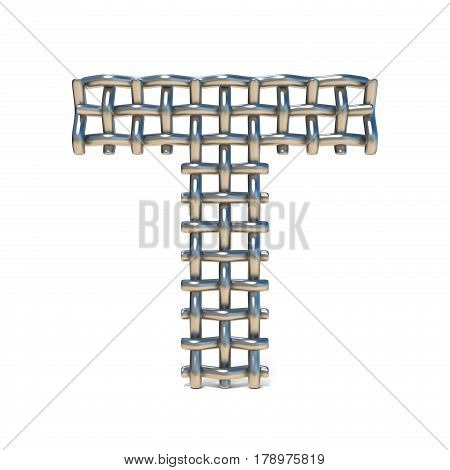 Metal Wire Mesh Font Letter T 3D