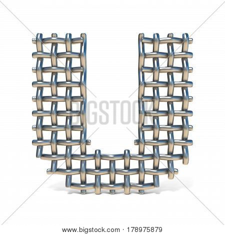 Metal Wire Mesh Font Letter U 3D