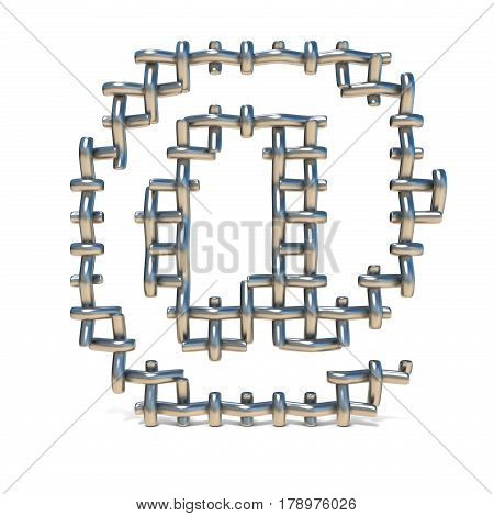 Metal Wire Mesh Font At Sign 3D