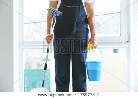 Window cleaner with special supplies indoors