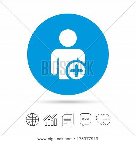 Add user sign icon. Add friend symbol. Copy files, chat speech bubble and chart web icons. Vector