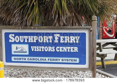 Southport NC USA - September 29 2016: Signs of Southport Ferry Visitors Center and North Carolina Ferry System. Signs to the Southport visitors center and ferry