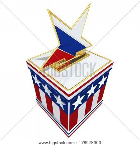 Russian Star Interference With Election Concept 3D Illustration