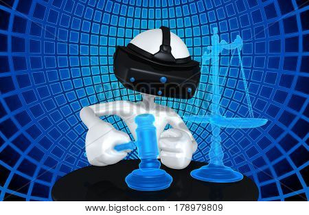 VR Law Legal Concept With The Original 3D Character Illustration