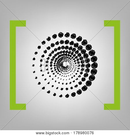Abstract technology circles sign. Vector. Black scribble icon in citron brackets on grayish background.