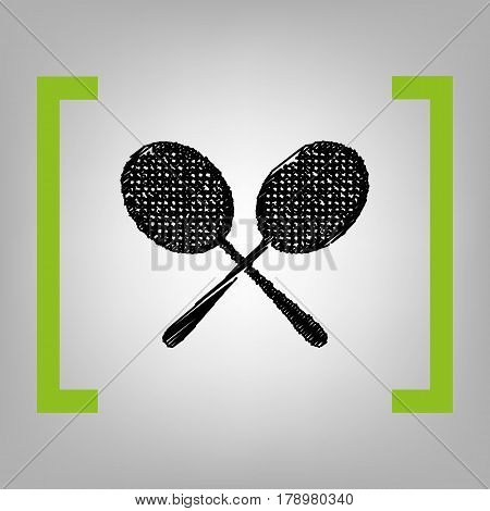 Tennis racquets sign. Vector. Black scribble icon in citron brackets on grayish background.