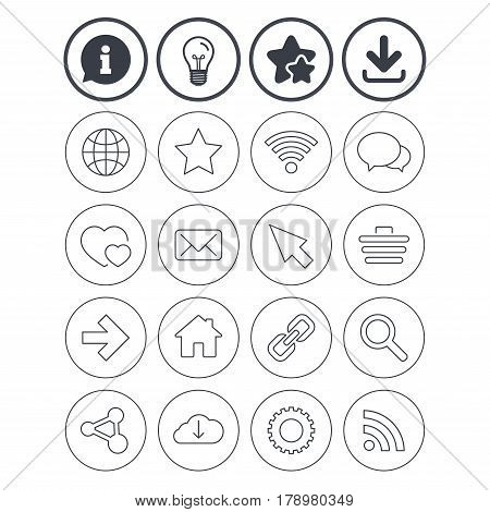 Information, light bulb and download signs. Internet and Web icons. Wi-fi network, favorite star and internet globe. Hearts, shopping cart and speech bubbles. Share, rss and link symbols. Vector