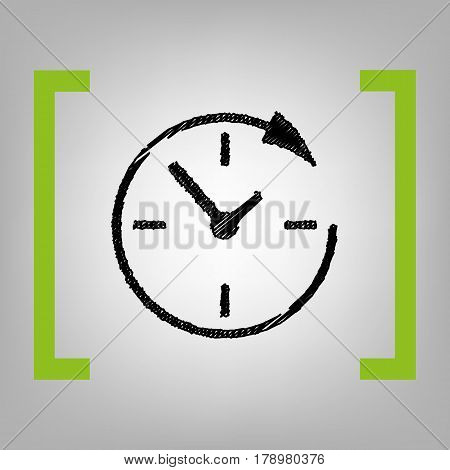 Service and support for customers around the clock and 24 hours. Vector. Black scribble icon in citron brackets on grayish background.