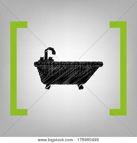 Bathtub sign illustration. Vector. Black scribble icon in citron brackets on grayish background.