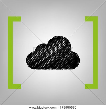 Cloud sign illustration. Vector. Black scribble icon in citron brackets on grayish background.
