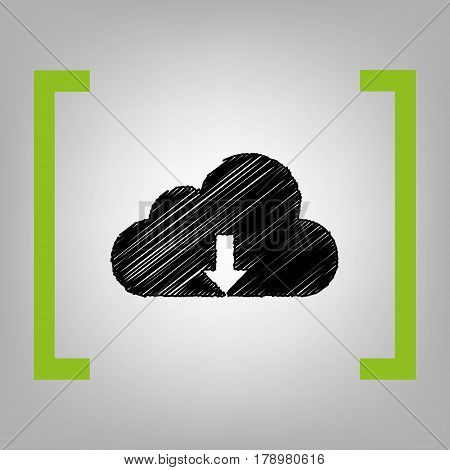 Cloud technology sign. Vector. Black scribble icon in citron brackets on grayish background.