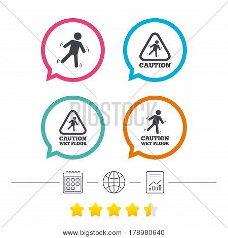 Caution wet floor icons. Human falling triangle symbol. Slippery surface sign. Calendar, internet globe and report linear icons. Star vote ranking. Vector