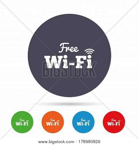 Free wifi sign. Wifi symbol. Wireless Network icon. Wifi zone. Round colourful buttons with flat icons. Vector