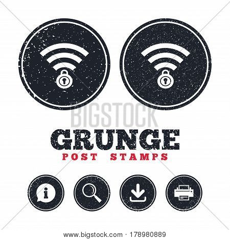 Grunge post stamps. Wifi locked sign. Password Wi-fi symbol. Wireless Network icon. Wifi zone. Information, download and printer signs. Aged texture web buttons. Vector