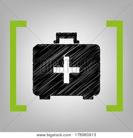 Medical First aid box sign. Vector. Black scribble icon in citron brackets on grayish background.