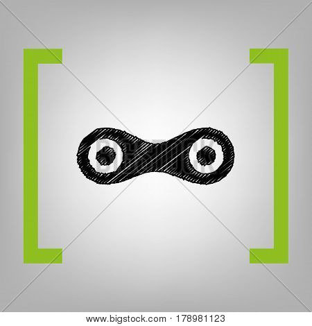 Link sign illustration. Vector. Black scribble icon in citron brackets on grayish background.
