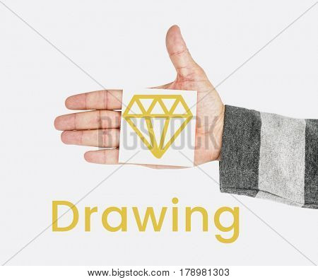 Graphic of creative design with diamond symbol